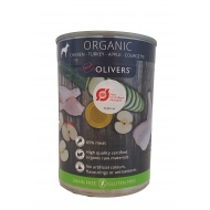 Olivers ORGANIC CHICKEN-TURKEY-APPLE-COURGETTE for dog konservai šunims 400g