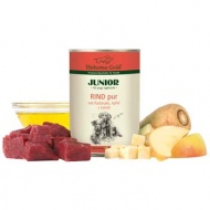 Hubertus Gold begrūdžiai konservai su jautiena, pastarnokais ir obuoliais šuniukams 400g