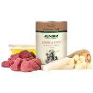Hubertus Gold begrūdžiai konservai su ėriena ir jautiena, pastarnokais ir kaliaropėmis šuniukams 400g