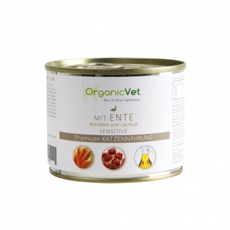 OrganicVet Duck with carrots & salmon oil konservai katėms 200g